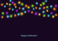 Happy Celebration Christmas New Years Birthdays and other events colorful led lights garland. Happy Celebration Christmas New Years Birthdays and other events Royalty Free Stock Images