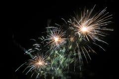 Happy celebration Firework. Red light in sky Royalty Free Stock Photo