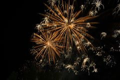 Happy celebration Firework. Red light in sky Royalty Free Stock Photography