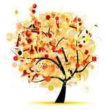 Happy celebration, funny tree with holiday symbols. Vector illustration Stock Photo