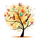 Happy celebration, funny tree with holiday symbols stock illustration