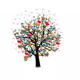 Happy celebration, funny tree with holiday symbols Royalty Free Stock Photo