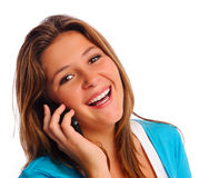 Happy cell phone girl Stock Images