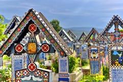 Happy cemetery. From Sapanta, Romania is called. Each grave cross has a happy description Stock Photos