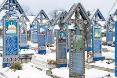Happy cemetery winter time Stock Photo
