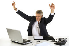 Happy CEO. By good results from the company royalty free stock images
