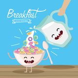 Happy Cereal With Spoon And Milk Jar Royalty Free Stock Photo