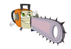 Happy chainsaw cartoon Royalty Free Stock Images