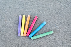Happy Chalks for a new beginning at school. And colors Royalty Free Stock Photo
