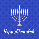 Happy Chanukah calligraphic with menorah. Flat design vector with blue blackground royalty free illustration