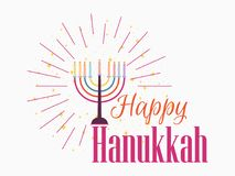 Happy Chanukah. Candlestick with nine candles of different colors. Vector. Illustration royalty free illustration