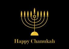 Happy Chanukah golden candlestick vector. Golden Menorah on a black background. Happy Chanukah greeting card. Jewish holiday Hanukkah. Important day stock illustration