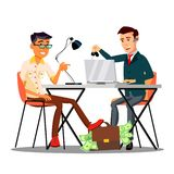 Happy Character Dealer Sold Car Customer Vector. Smiling Man Giving Bag With Money To Dealer And Take Keys From Automobile. Seller Dealership Agent Contract vector illustration