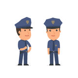 Happy Character Officer standing in relaxed pose Royalty Free Stock Images