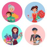 Happy Characters with Flowers in Colorful Circles. Grandmother and grandson with gift, woman with glass of wine, lady with bunch of presents, father and son with stock illustration