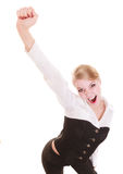 Happy cheerful business woman hand gesture success sign Stock Photo