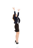Happy, cheerful business woman with her hands up. Royalty Free Stock Photo