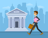 Happy cheerful businessman carries piggy bank vector illustration. Stock Photography