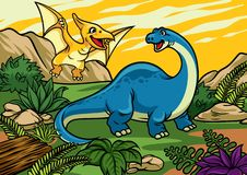 Happy cheerful cartoon of brontosaurus and pterodactyl. Vector of happy cheerful cartoon of brontosaurus and pterodactyl Royalty Free Stock Photo