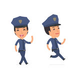 Happy and Cheerful Character Constabulary goes and runs Stock Photo