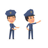Happy and Cheerful Character Constabulary making presentation us Stock Image