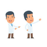 Happy and Cheerful Character Doctor making presentation using hi Stock Images