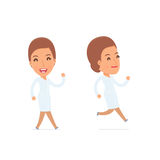 Happy and Cheerful Character Nurse goes and runs Stock Image