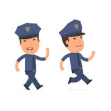 Happy and Cheerful Character Officer goes and runs Stock Images