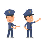 Happy and Cheerful Character Officer making presentation using h Royalty Free Stock Photo