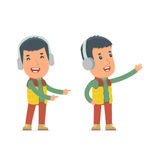 Happy and Cheerful Character Winter Citizen making presentation Stock Images