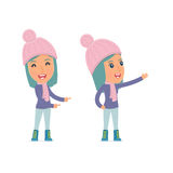 Happy and Cheerful Character Winter Girl making presentation using his hand Stock Images