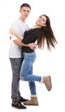 Happy cheerful couple Royalty Free Stock Photos