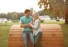 Happy cheerful couple in love Royalty Free Stock Photos