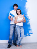 Happy cheerful couple of painters Royalty Free Stock Image