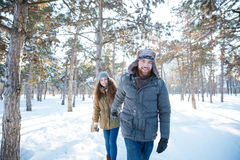 Happy cheerful couple walking in winter park Royalty Free Stock Photography