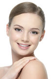 Happy cheerful face of woman stock photo