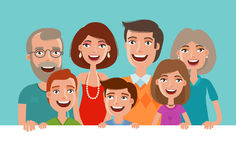 Happy cheerful family, banner. People, children and parents concept. Cartoon vector illustration Stock Images