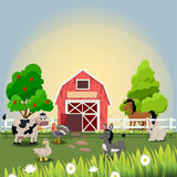 Happy and cheerful farm animals Royalty Free Stock Image
