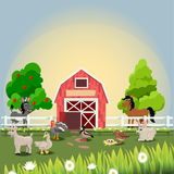 Happy and cheerful farm animals Royalty Free Stock Images