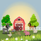 Happy and cheerful farm animals Stock Photos