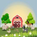 Happy and cheerful farm animals Royalty Free Stock Photo