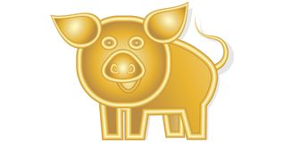 Happy cheerful golden pig 2019 suitable for a calendar stock illustration