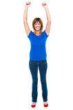 Happy and cheerful lady in joyous mood Royalty Free Stock Image