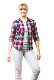 Happy cheerful looking woman in checkered shirt Royalty Free Stock Images