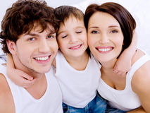 Happy cheerful mother and the father with son Royalty Free Stock Image