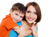 Happy cheerful mother with little son Royalty Free Stock Images