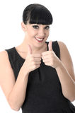 Happy Cheerful Pleased Positive Woman with Thumbs Up. Positive cheerful pleased happy Woman with black hair and hispanic or european features, looking at camera Stock Photos