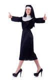 Happy cheerful victress nun thums up Stock Photo