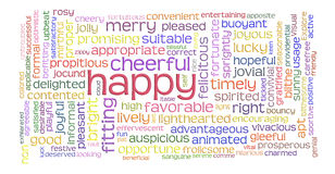 Happy cheerful word cloud Royalty Free Stock Photos