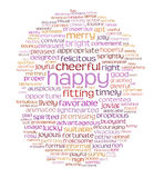 Happy cheerful word cloud Stock Photography